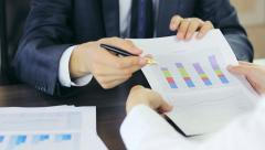 Close-up of showing financial results - stock footage