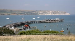 Jetty and boats Swanage Dorset England UK Stock Footage