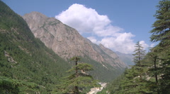Mountains and valley at Gangotri in Uttarakhand, India Stock Footage