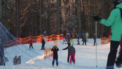 Skiers go on the ski run Stock Footage