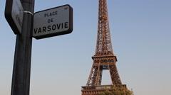Eiffel Tower Paris France Establishing Shot Slow Tilt Up Stock Video Stock Footage