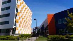 Establishing shot modern architecture building Stock Footage