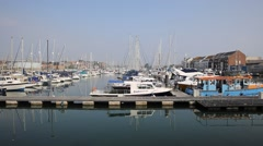North Quay Weymouth Dorset UK boats and yachts summer day - stock footage