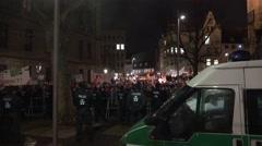 4k Pegida crowded crowd anti-demo zoom in Braunschweig Stock Footage