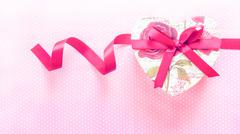 Valentines Day and Heart shaped gift box.Vintage holiday background. - stock photo