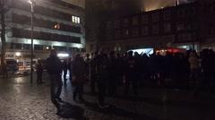4k Panning around Pegida demonstration with police Braunschweig Stock Footage