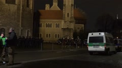 4k Mounted police zoom in Pegida demonstration Braunschweig Stock Footage