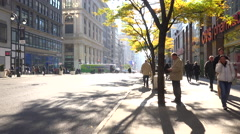 A nice shot along 5th avenue in New York City with pedestrians and traffic. Stock Footage