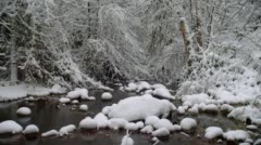 Creek with snow during winter, Ashland - stock footage