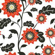 modern red sun flowers seamless background - stock illustration