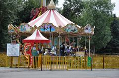 Children's carousel fragments Stock Photos