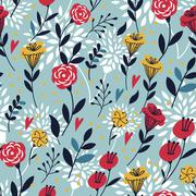 elegant cartoon seamless pattern - stock illustration