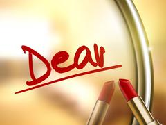 Dear word written by red lipstick Stock Illustration