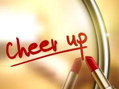 cheer up words written by red lipstick - stock illustration
