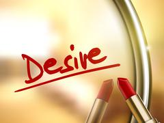 desire word written by red lipstick - stock illustration
