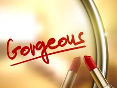 Stock Illustration of gorgeous word written by red lipstick