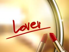 lover word written by red lipstick - stock illustration