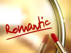 romantic word written by red lipstick - stock illustration