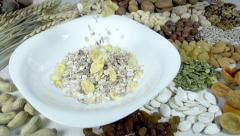 Muesli and their Composition Stock Footage