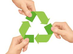Recycle concept: hands holding recycle icon Stock Illustration