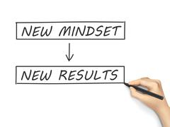 Stock Illustration of new mindset make new results written by hand