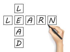 Learn-lead crossword written by hand Stock Illustration