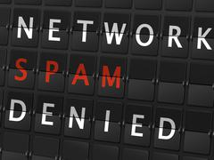 Network spam denied words on airport board Stock Illustration