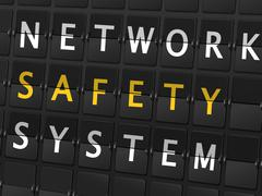 network safety system words on airport board - stock illustration