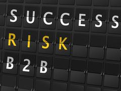 Stock Illustration of success risk B2B words on airport board