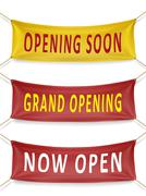 opening soon, grand opening and now open banners - stock illustration