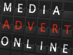 media advert online words on airport board - stock illustration