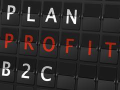 Stock Illustration of plan profit B2C words on airport board
