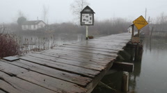 Finn Slough Pedestrian Bridge Rain, Richmond Stock Footage
