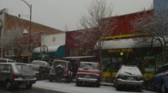 View of snowfall in downtown, Ashland Stock Footage
