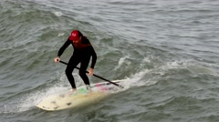Stand Up Paddle Board Surfer Stock Footage