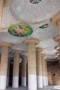 Colonnade in Park Guell Stock Photos