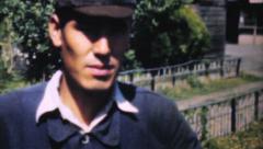 Man Walking In Rural Japanese Village-1950 Vintage 8mm film Stock Footage