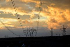 High voltage electrical towers in line Stock Photos