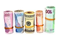Various Turkish Lira and dollar white background Stock Photos