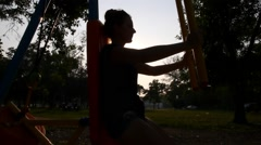 Sportswoman Doing Sport at Sunset in Summer. Fitness and Healthy Lifestyles Stock Footage