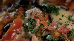 Delisious, tasty pizza with tomato cheese and greens, close up Stock Footage