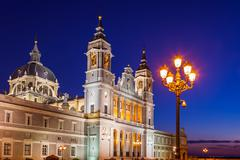 Almudena Cathedral at Madrid Spain Stock Photos