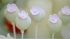 Sweet, white cakepops with little flower, dynamic change of focus Stock Footage