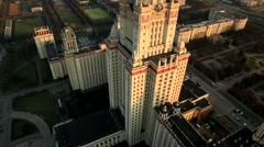 Moscow Russia, Aerials, Moscow Aerial View,  Moscow State University Stock Footage