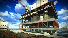 Oil rig  platform Stock Illustration