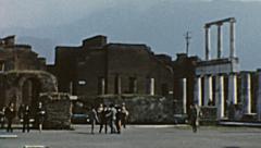 Pompei  1962: people visiting Roman ruins - stock footage