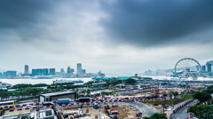 The bird view of the traffic and project near the harbour,Hong Kong,China Stock Footage
