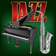 abstract grunge music background with saxophone and grand piano - stock illustration