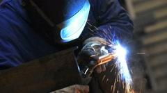 Closeup of steel being heated in workshop - stock footage
