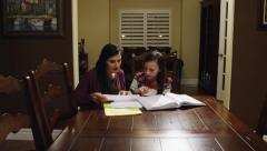 Mom Helps With Homework Stock Footage
